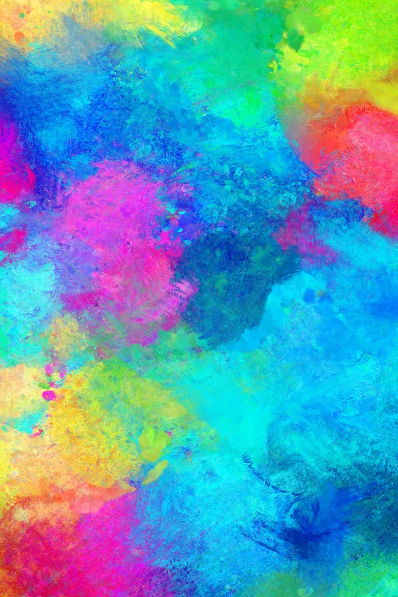 Blue, pink, and yellow abstract painting