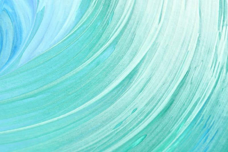 Teal and white wave abstract painting