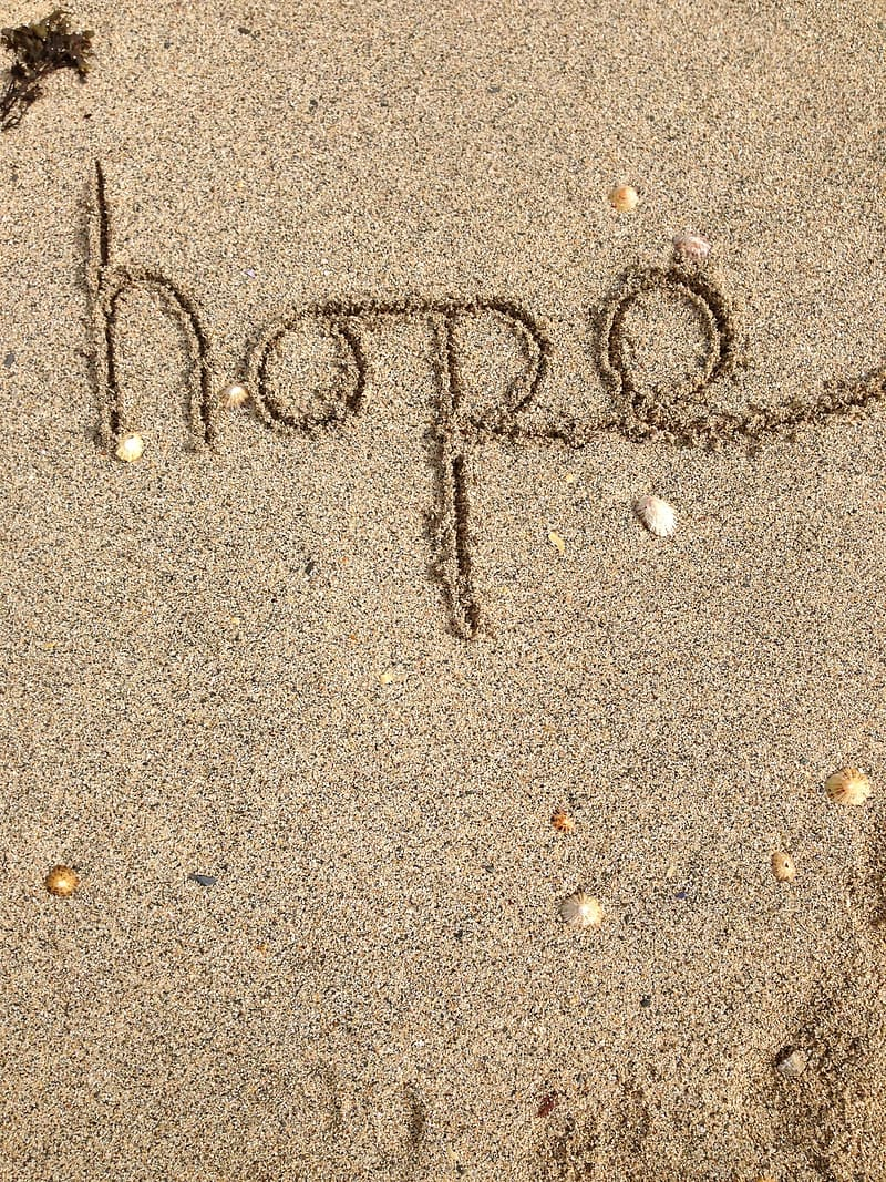 Hope sand text