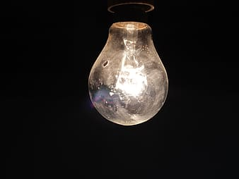Low light photography of light bulb