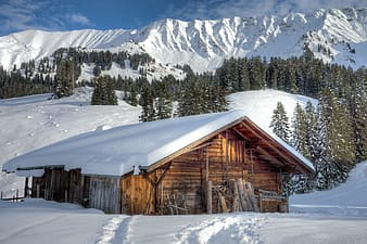 Landscape photography of house near mountain filled with snow