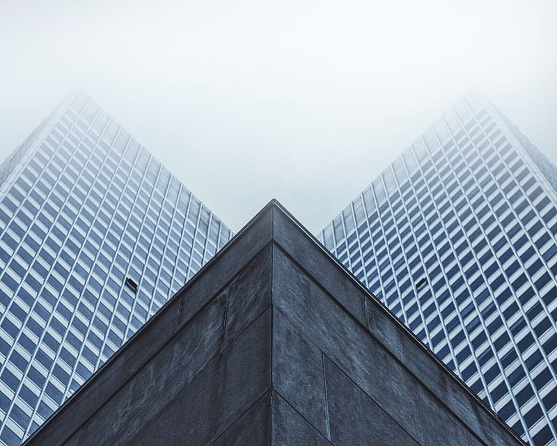 Low-angle photography of white curtain wall buildings