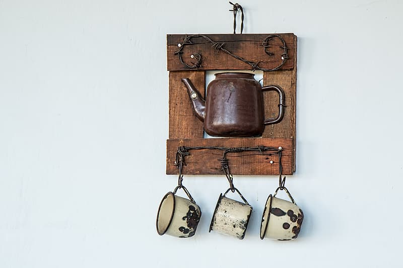 Brown teapot wall decor