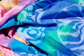 Blue, teal, and pink comforter