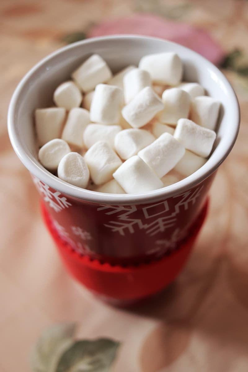 White and red plastic cup with white sugar cubes
