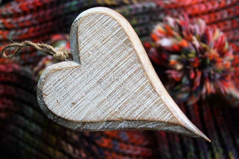 Brown wooden heart shaped table ornament