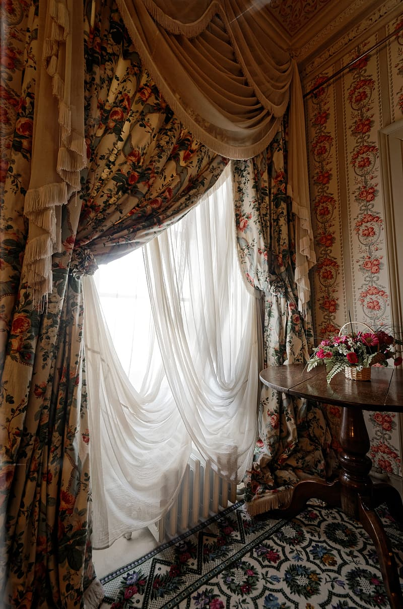 White and black floral curtains