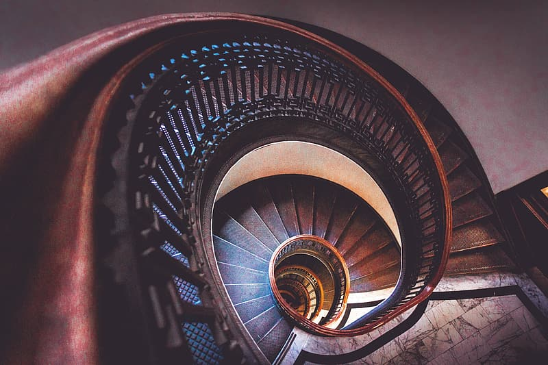 Photo of brown spiral staircase