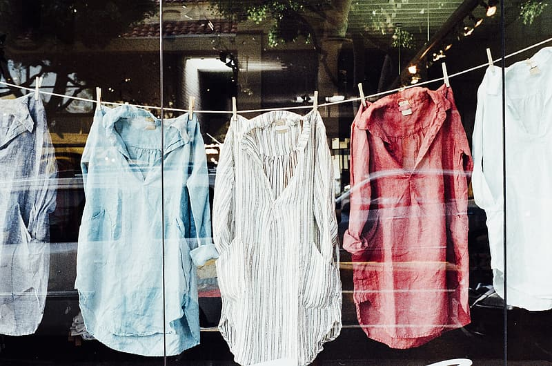 Stack clothes clipped on clothesline