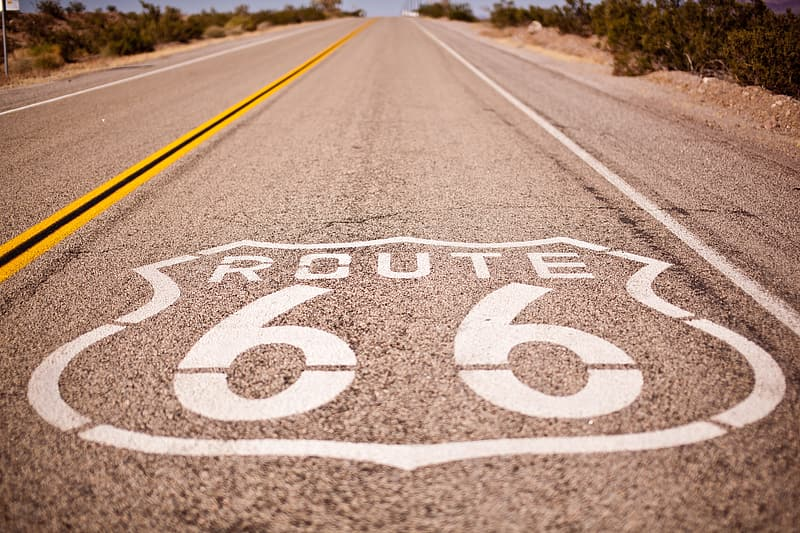 Route 66 painted on street