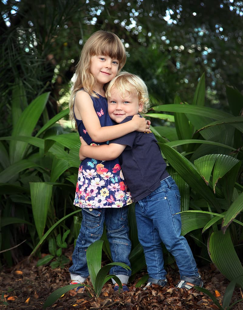 Boy and girl hugging each other