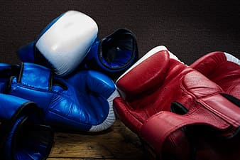 Two pairs of blue and red training gloves