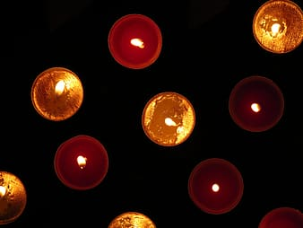 Flay lay photography of lighted candles