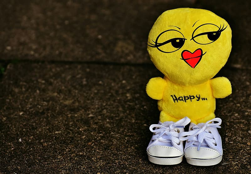 Yellow plush toy with teal sneakers close-up photo