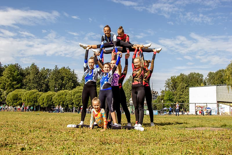 Group of female gymnastics outdoor