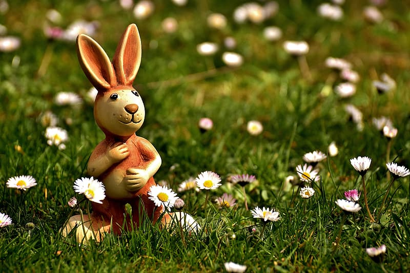 Photography of brown rabbit figurine near daisy flowers field during daytime