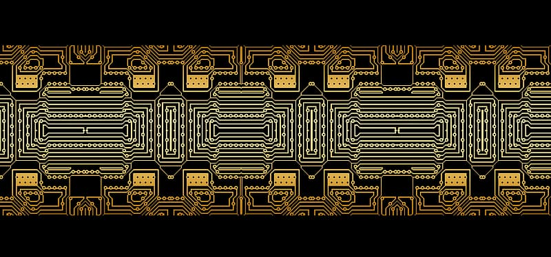 Yellow and white circuit board