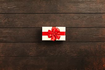 White and red star print gift box