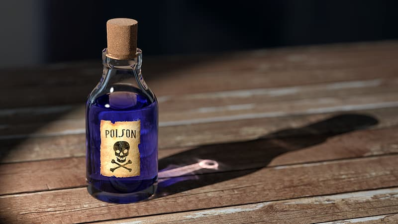 Posion bottle with shadow on brown wooden surface