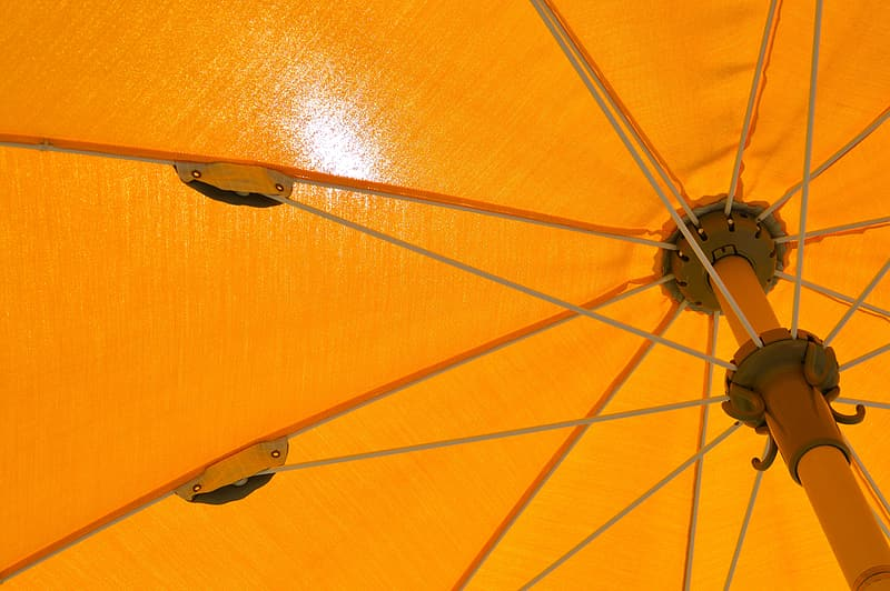 Orange umbrella with black handle