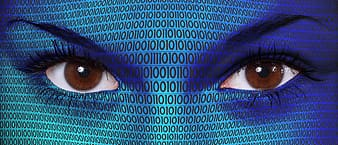 Edit photo of woman's eyes with binary numbers on her skin