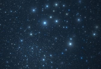 White and blue stars in the sky