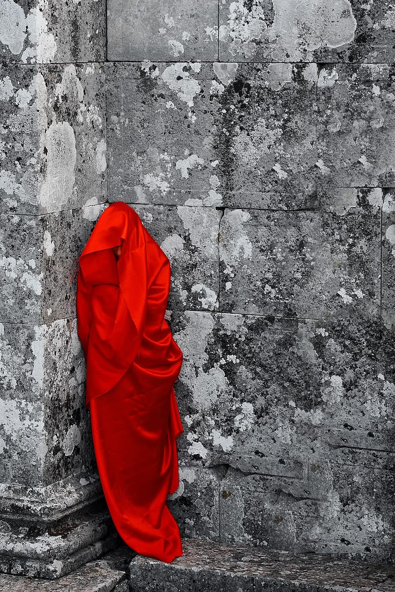 Selective color photography of garment on eall