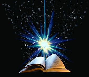 Book opened with blue light