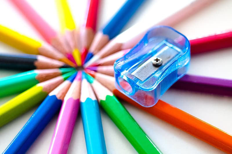 Color pencil set with blue sharpener