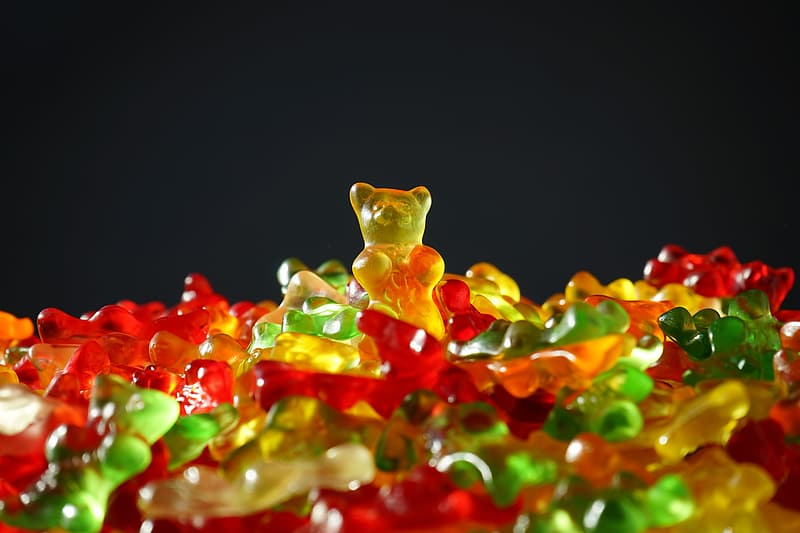 Shallow focus photography of bear candy lot