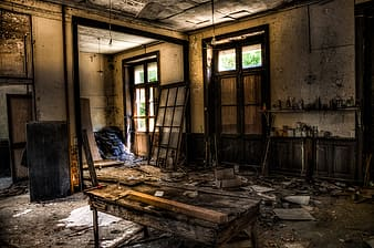 HDR photography of brown wooden table on deserted house
