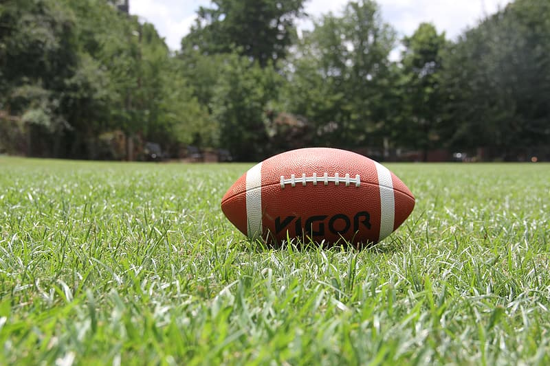 Brown and white football on green grass field during daytime