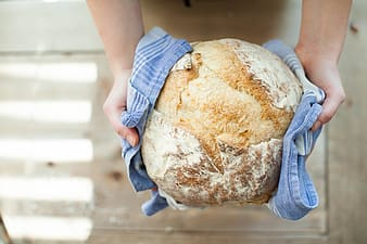 Person holding baked bread
