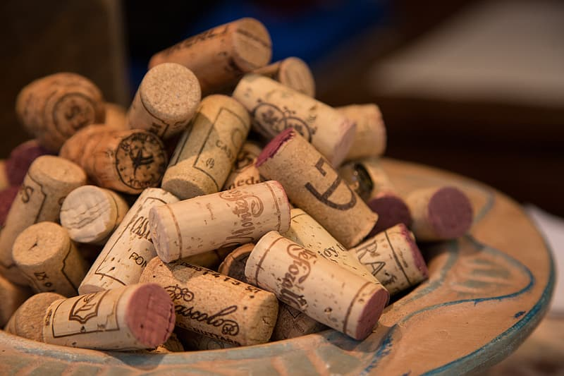 Selective focus photograph of wine corks