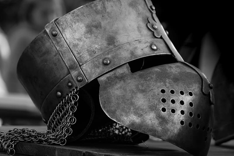 Greyscale photography of helmet