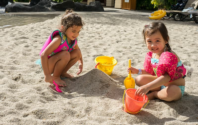 Two girls on sand