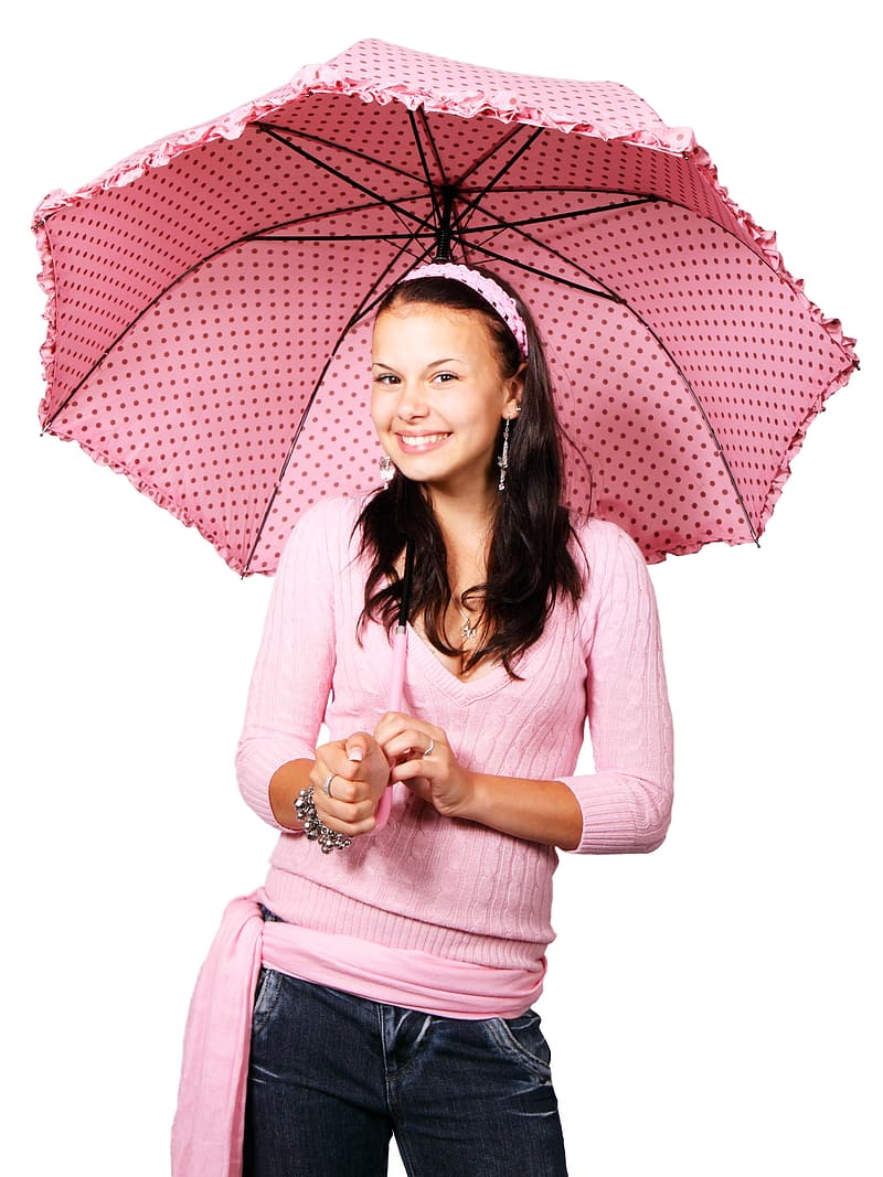 Woman in pink sweat shirt white holding pink umbrella
