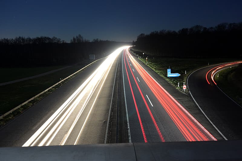 Road time lapse photo