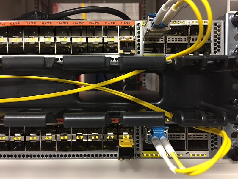 Back view of ethernet switch