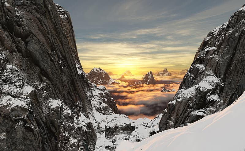 Rock formation covered by snow at golden hour