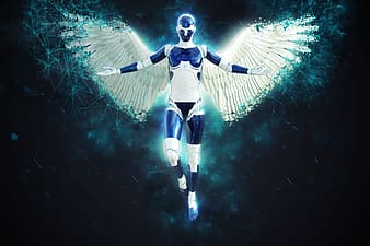 Blue character with wings digital wallpaper