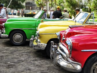 Green, yellow, and red convetibles