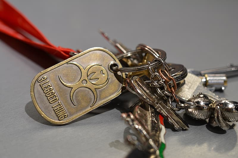 Gold and silver padlock with key