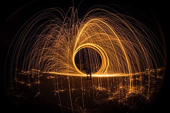 Person doing fire dance during night