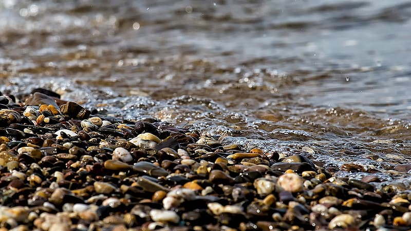 Photo of stone pebbles at seashore during daytime