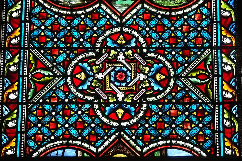 Multicolored floral stained glass window
