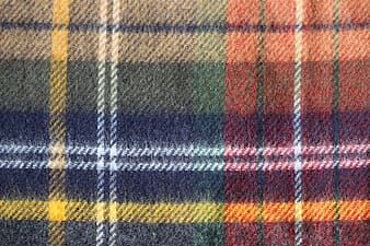 Blue red and yellow plaid textile