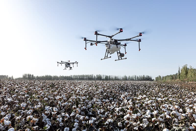 People gathering on a field with a red and white drone