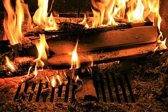 Brown wooden stick on fire