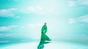 Photo of woman in green dress illustration